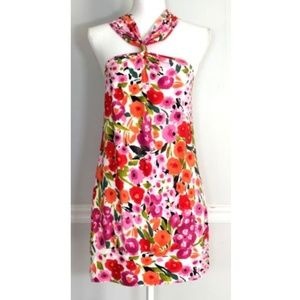 Floral Halter Hardware Cutout Tunic Dress Top